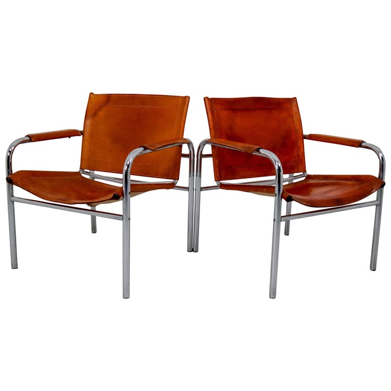Two Midcentury Tubular Armchairs in Patinated Cognac Leather, France, 1960s For Sale