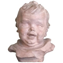 Early 20th Century Italian Terracotta Bust of a Child by Ferrante Zambini
