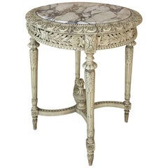 19th Century Italian Louis XIV Painted Marble-Top End Table