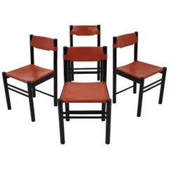 1970s Ibisco Italian Leather Dining Chairs, Set of 4