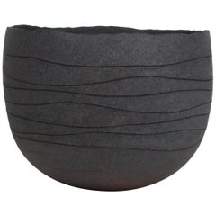 Contemporary Gray Stoneware Bowl, Hand Engraved by Artist Patricia Vieljeux