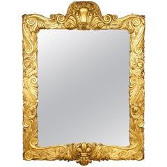 1920s Carved Wood and Gilded Sunderland Frame Mirror of Large Scale