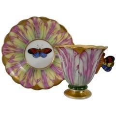 Spode Porcelain Tulip Cup and Saucer, circa 1820