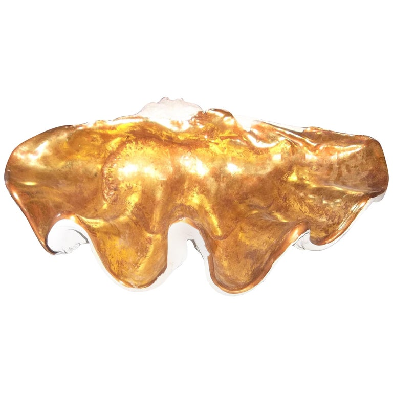Large Gilded Clam Form Planter Jardiniere or Table Centerpiece For Sale