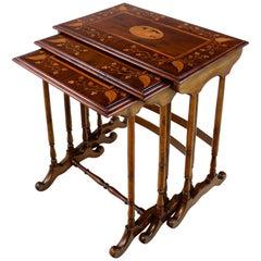 Rare Antique Victorian Irish Killarney Ware Nest of Marquetry Tables