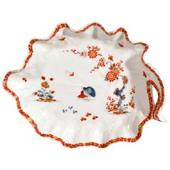 Bow Porcelain Kakiemon-Style Double Quail Pattern Cabbage Leaf Dish, circa 1758