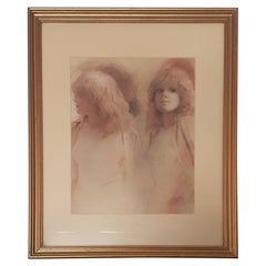Twins by Colin Frooms in Pastel, Glazed and Framed