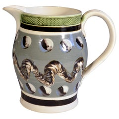 Blue Colored Mocha Pottery Jug, Circa 1800-1820.
