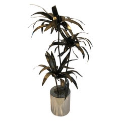 Mid-Century Modern Brutalist Metal Sculpture of a Potted Palm Tree
