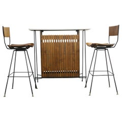 Midcentury Arthur Umanoff Bar Set for Raymor with 2 Stools Iron and Wood