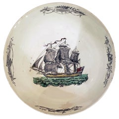 English Pottery Creamware Bowl with Design of Ship, circa 1785-1800