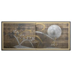 Japanese Two-Panel Screen, Autumn Flower and Moon on Silver