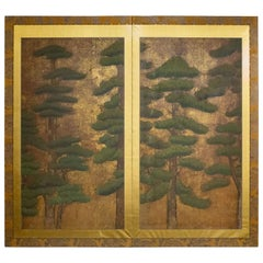 Japanese 17th Century Two Panel Screen, Pine with Gold Dust