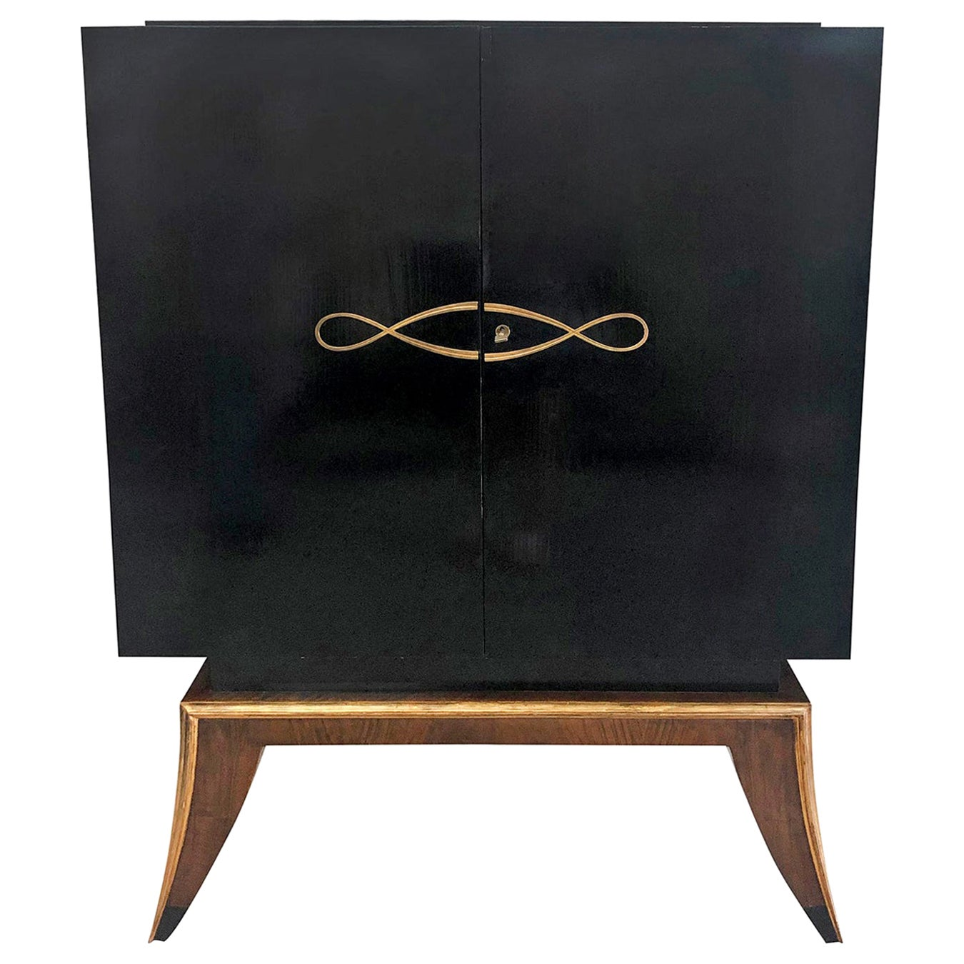 20th Century Black French Art Deco Ebonized Cabinet