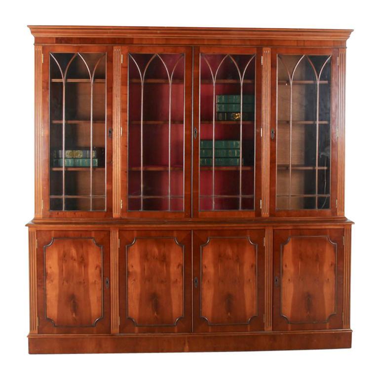 Vintage Georgian-Style Eight-Door Bookcase For Sale