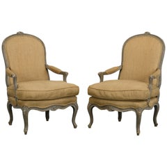 Pair of Louis XV Style Painted Armchairs, 1920s