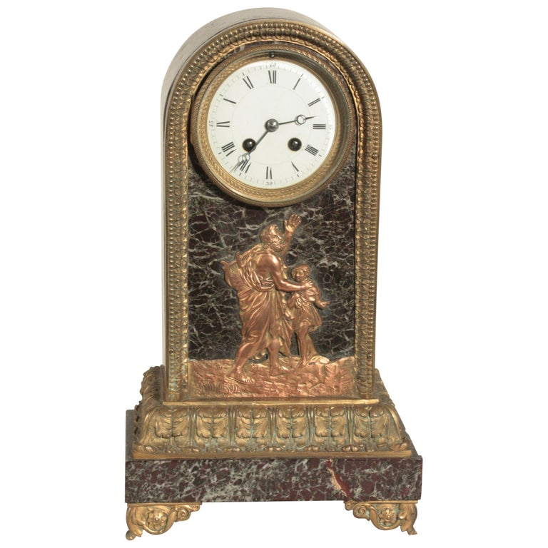 Second Empire Bronze and Marble Mantel Clock For Sale