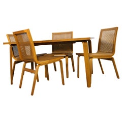 Midcentury Rare Clifford Pascoe Maple Dining Table 4 Cane Chairs
