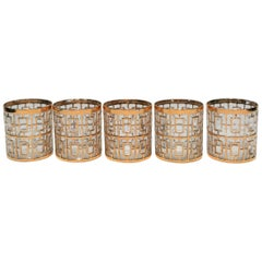 Set of 5 Vintage 22-Karat Gold Rock's Glasses by Imperial Glass