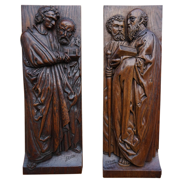 Pair of Hand Carved Antique Wall Plaques with Apostles or Clergyman Sculptures For Sale
