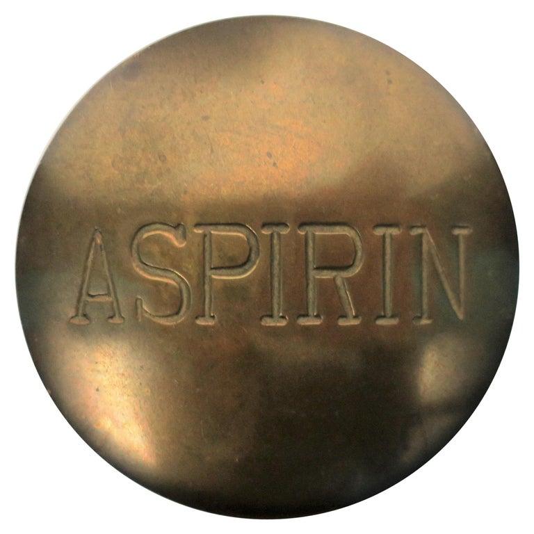 Postmodern 'ASPIRIN' Brass Pill Box, ca. 1970s For Sale