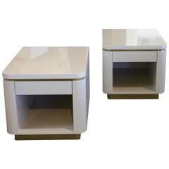 Pair of Steve Chase Designed Lacquer and Brass Nightstands