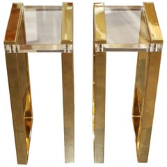 Pair of Charles Hollis Jones Brass and Lucite Tables