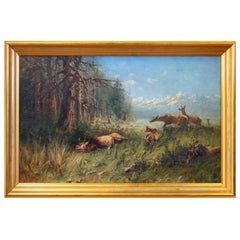 """Montana Landscape with Felled Elk"" Original Oil Painting by John Fery"