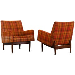 Pair of Jens Risom Walnut Lounge Chairs, 1953