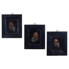 Three George III Bas Relief Wax Portraits
