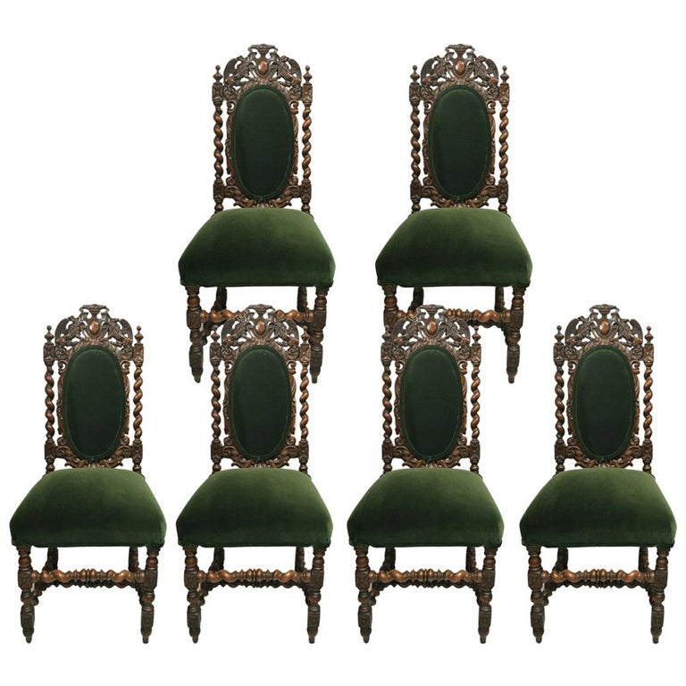 Set of Six Antique French 19th Century Chairs For Sale