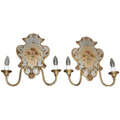 Pair Italian Venetian Eglomise and Brass Wall Sconces