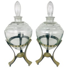Pair of Art Deco Glass Stoppered Vessels with Stands