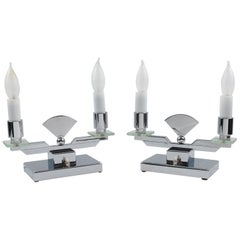 French Art Deco Modernist Chrome and Glass Candelabra Table Lamp, a Pair