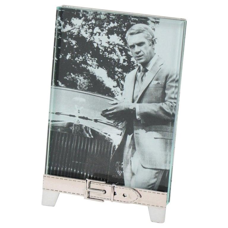 Italian Gucci Silver Plate Picture Photo Frame Belt Design For Sale