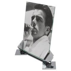 Art Deco Machine Age Geometric Chrome Picture Photo Frame