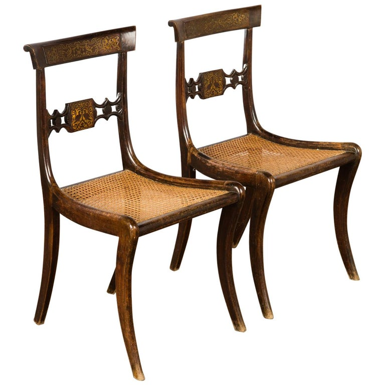 Pair of English Regency Side Chairs For Sale