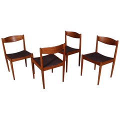 Set of Four Bramin Dining Chairs in Teak and Leather, Denmark, 1960s