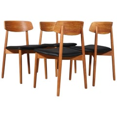 Harry Østergaard, Four Chairs in Oak and Black Leather, 1970s