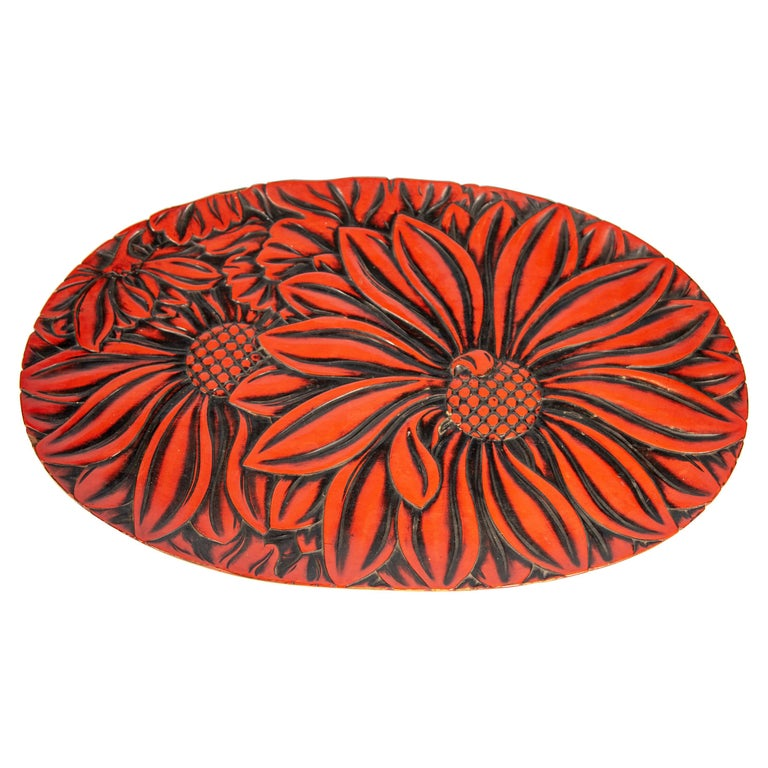 Japanese Carved Wood and Negoro Lacquer Oval Tray, circa 1920 For Sale