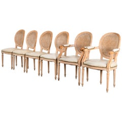 Set of 6 French Louis XVI Style Dining Chairs, 1960s
