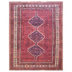 Vintage Persian Hand Knotted Tribal Medallion Red Shiraz Rug, circa 1960s
