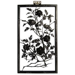 Chinese Forged and Wrought Iron Framed Chrysanthemums, Branches and Birds