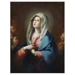 Madonna, Benedetto Luti 17th Century Oil on Canvas Virgin's Assumption Painting