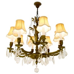French Louis XVI Style Bronze and Crystal Eight-Light Chandelier