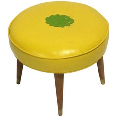 1950s Stool Maple Wood Legs, Brass Ferules, Yellow Vinyl Paul McCobb Attribute