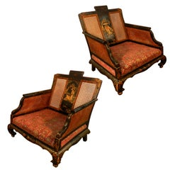 Pair of Lacquered Wood Armchairs, China, 19th Century