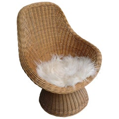 Hand Twined Blond Willow Lounge Chair with White Sheep Wool Pillow