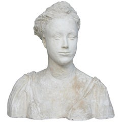Plaster Bust of a Woman, Handsculpted, France, circa 1930