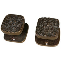 Pair of Art Sculptural Bronze Door Knobs, 1960s